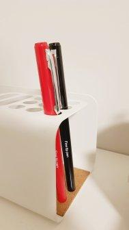 Blue and Red Felt Tip Pens in Desk Organiser